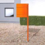 Brevkasse Letterman V m. avisrum og stolpe, orange