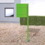 Postkasse Letterman V, m. avisrum og stolpe, grøn