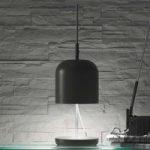 Moderne LED bordlampe Puk, grå-sølv