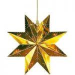Perforeret stjerne i poleret messing.