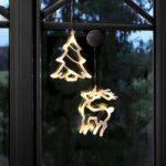 LED-deko-silhouette rensdyr og træ i 2 stk. sæt