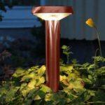 Kobberfarvet LED jordspydslampe Isis, solcelle