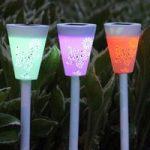 LED solcellelampe Butterfly 3 i et sæt med RGB-lys