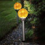 Roma LED-solcellelampe med glaskugle, 2 i et sæt
