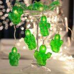 Grøn LED-festlyskæde Cactus, batteridrevet