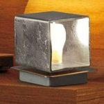 Kvadratisk bordlampe Cube med bladsølv