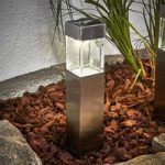 Firkantet LED-solcellelampe Barny, sæt m 4 stk