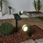 Lore 2'er sæt LED solcellespots med jordspyd