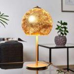 Bordlampe Vanity med fornem glasskærm – guld