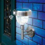 Asinara Plus solcelle-PIR-lampe i rustfrit stål