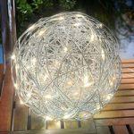 Varmhvid lysende LED solcellelampe Alu-Wireball