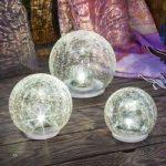 3 dele LED solcelle lampesæt Crackle Ball