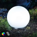 Flydende RGB-LED solcellekugle Float 25, fjernb.