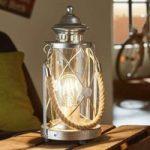 Lys lanterne bordlampe Kirian sølv-antik