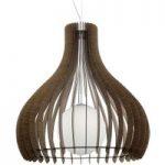 Hængelampe Tindori med brune trælameller