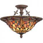 Elegant loftlampe Dragonfly i Tiffany stil