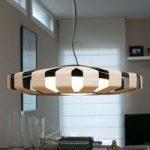 Rund LED hængelampe Pauline med træelementer