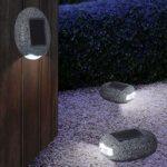 Udendørs deko-solcellelampe Talvi – sten design