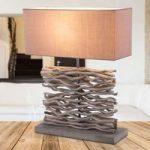 Jamie – grå bordlampe med træfod og trædekor