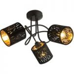 Loftlampe Tuxon med 3 fløjlsbetrukne skærme