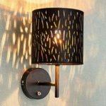 Væglampe Jules med fløjlsskærm, sort-guld