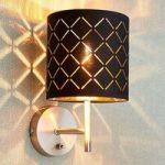 Væglampe Julita, sort-guld, med kontakt