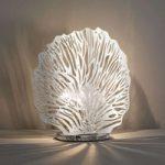 Bordlampe Coral, bladforsølvet, højde 32 cm