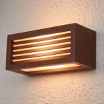 Rustbrun udendørs væglampe Box L E27