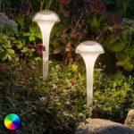Farverig LED solcellelampe Assisi med jordspyd