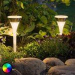 Solcelledreven jordspydslampe Assisi med RGB-LED