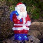 Kulørt LED-akryl-julemand, 36,5 cm