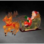 Rensdyr med julemand – LED vinduesbillede