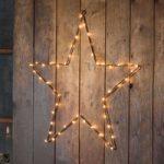 LED metalstjerne med timer, kobber