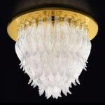 PETALI loftslampe i guld med Muranoglas