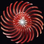RONDO rød loftslampe af Murano-glas