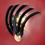 RONDO sort væglampe af Murano-glas