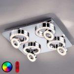 LED-loftlampe Lola-Tim, fjernbetjening, farveskift