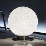 Kuglerund bordlampe ICEGLOBE på metalfod