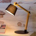 Olly – bordlampe af fyrretræ, sort skærm