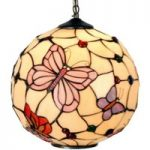 Rosy Butterfly pendellampe i Tiffany-stil