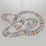 Krystal-pendellampe Trilogy m. 6 pærer, ravfarvet