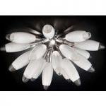 Hvid glas loftslampe Flo, 55 cm