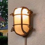 Oval væglampe Bengt til udendørs, antik messing