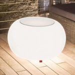 Bubble Outdoor bord, hvidt lys + glasplade