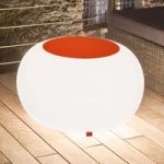 Bubble Outdoor bord, hvidt lys + orange filt