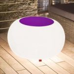 Bubble Outdoor bord, hvidt lys + violet filt