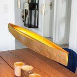 Guldfarvet LED-pendellampe Malu, 100 cm