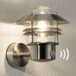 TIN udendørs væglampe i rustfrit stål m sensor