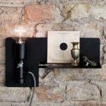 Væglampe Sunday med reol, sort