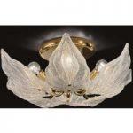 Eksklusiv glas loftslampe Foglie, 6 lyskilder